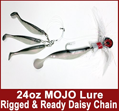 Blue Water Candy – Rock Fish Candy 24 oz Cannonball (Black/Red/White) Mojo Striper Daisy Chain Lure, Loaded with 9-Inch Swimbait Shad Body&3 x 6-Inch Trailing Shads – Rigged&Ready (Black/Pearl)