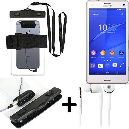 Estuche estanco al agua con entrada de auriculares para Sony Xperia Z3 Compact + auricular incluido, transparente | Trotar bolsa de playa al aire libre caja brazalete del teléfono caso de cáscara bajo