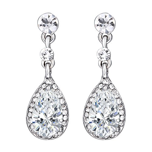 57621f8a2 Women's Silver-tone Cubic Zirconia Crystal Teardrop Bridal Dangle Drop  Earrings Clear NEW & FREE SHIPPING From The USA