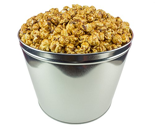 Signature Popcorn - 2-Gallon Silver Popcorn Tin - Caramel Pecan