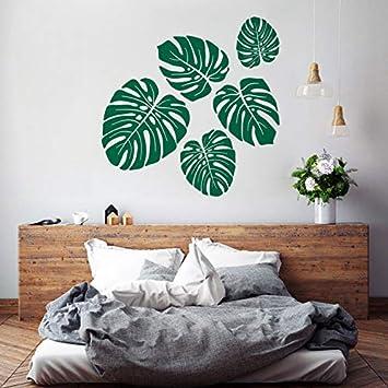 Tropische Blätter Wandaufkleber Kunst Wandtattoo Kinder Mädchen Schlafzimmer