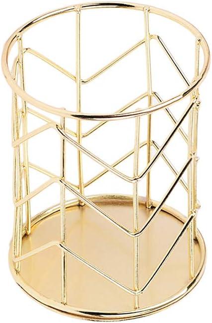 JUNGEN Portalápices de metal creativo con Decoración de patrón de onda de hierro Titular de pluma del hueco Organizador de pincel de maquillaje (Dorado)