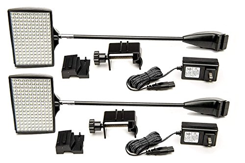 Trade Show Lights, HitLights 2 Packs LED Display and Exhibit 12V DC LED Arm Lights, Pop-Up Halogen Replacement, Includes UL Power Supply and Mounting Hardware (C-Clamp-Black) (Best Trade Show Banners)