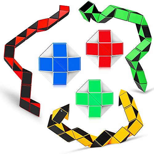 Ganowo 6PCS Big Size Snake Cube Fidget Sensory Toy Ruler Twisty Puzzle Brain Teaser Game for Kids 24 Blocks