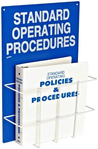 Brady SM681A Heavy-Duty Poly, White On Blue Color Standard Operation Procedures Center, Legend ''Standard Operating Procedures'' by Brady