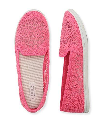 Aeropostale Women's Sheer Crochet Slip-On Shoe 8 Ultra Pink