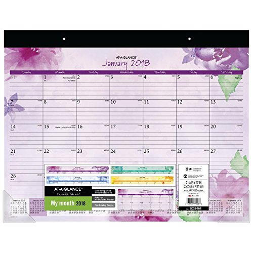 "AT-A-GLANCE Monthly Desk Pad Calendar, January 2018 - December 2018, 21-3/4"" x 17"", Beautiful Day (SK38-704)"
