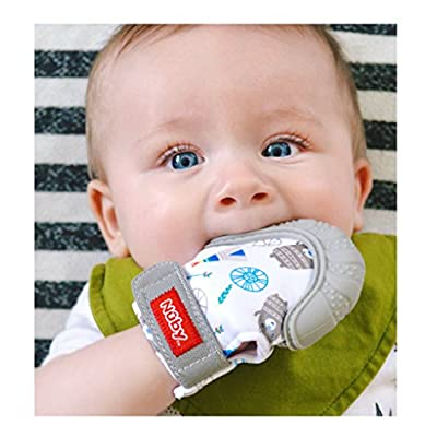 Nuby Soothing Teething Mitten with Hygienic Travel Bag, Grey, 1 Count : Baby