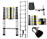 Todeco - Telescopic ladder, Foldable Ladder - Maximum load: 330 lbs - Number of steps: 9 - 8.5 feet, Extra gap, FREE Carry bag, EN 131-6