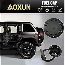 Aoxun Fuel Tank Cap Filler Door Cover Fit for 2007-2017 Jeep Wrangler JK 4 / 2 Door(Black)