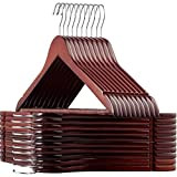 High Grade Lotus Wooden Hangers – 20-pack - Solid Wood Suit Hangers With Extra Smooth Finish, 360 Degree Swivel Hook Non-Slip Bar and Precisely Cut Notches for Coats, Jacket, Pants, and Dress Clothes
