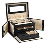Sodynee Mew Pu Leather Jewelry Box Organizer Display Storage Case with Lock