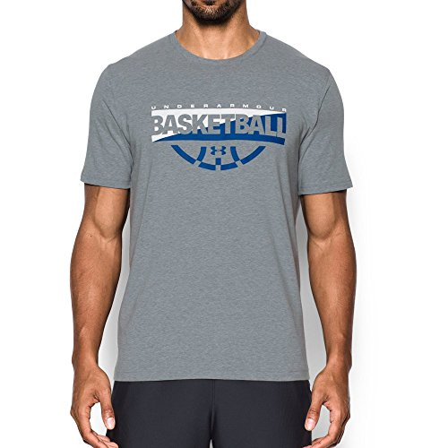 (Under Armour Men's Baseline Graphic T-Shirt, Steel Light Heather (035)/White, X-Large)