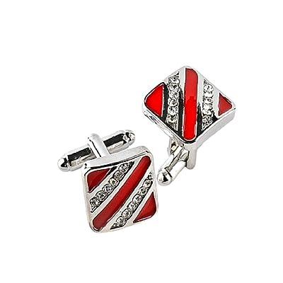 Silver Red Stripe Crystal Cufflinks Formal Wear Business Wedding for Suit Shirt