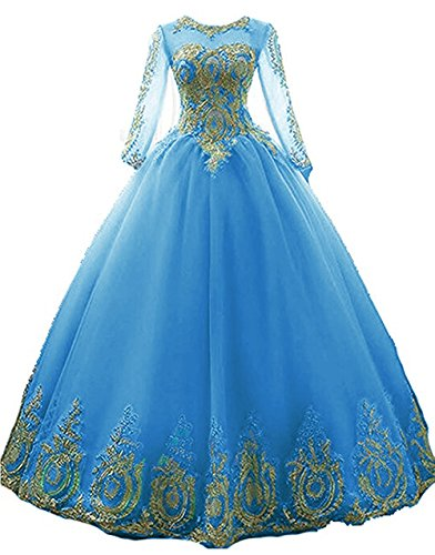 - inmagicdress Women Ball Gowns Gold Lace Appplique Quinceanera Dresses Long Sleeves Prom Dresses IMG217