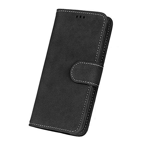 YHUISEN LG G2 Case, estilo retro de cuero sólido Premium PU cuero Wallet caso Flip Folio cubierta de la caja de protección con ranura para tarjeta / soporte para LG G2 ( Color : Gray White ) Black