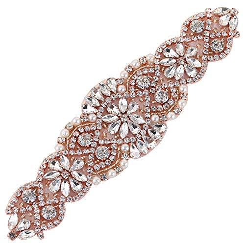 (2 piezas) Rhinestone Applique con Cristales y Perlas para el Vestido Headpieces Bolsas Cinturon para Vestido Novia, Cinturones Boda Oro Rosa-010