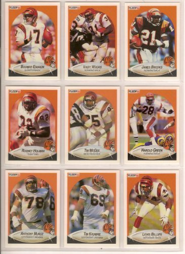 Cincinnati Bengals 1990 Fleer Football Team Set with year end Update Cards (Premier Issue) ** Boomer Esiason, Ickey Woods, James Brooks, Rodney Holman, Tim McGee, Harlod Green, Anthony Munoz, Tim Krumrie, lewis Billups, Jason Buck, Rickey Dixon, David Fulcher, Lee Johnson, Bruce Reimers, Leon White, James Francis**