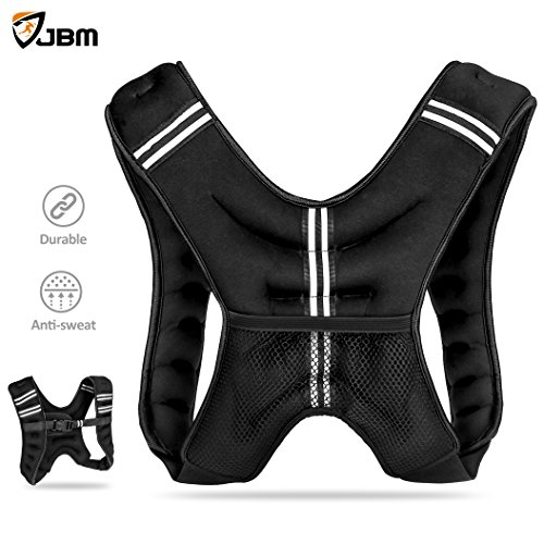 JBM Weighted Vest 12lbs Weight Vest Neoprene Quality Sand Filling Soft for Workout Crossfit Fitness Strength Training Gym Walking Running Cardio Weight Loss Muscle Building - One Size Fit Most - Suit Running Speed