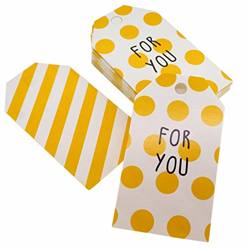 For You Yellow Polka Dot Stripe Design Paper Gift / Price Tags with Color Twine for Gift Wrapping Packaging, Set of (Princess Gift Tags)
