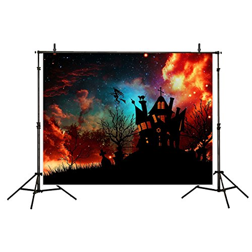 (Funnytree 7x5ft Halloween Backdrop for Photography Burning Sky Haunted House Party Banner Decoration Mansion Scary Tombstone Wizard Polyester Background Dark Night Flaming Photo Studio)