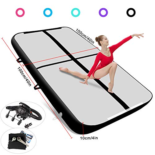 FBSPORT 4 inches Thickness airtrack, 3.3ft Tumble Track air mat for Gymnastics Training/Home Use/Cheerleading/Yoga/Water with Electric Pump from FBSPORT