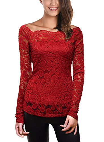 DJT Womens Boat Neck Floral Lace Raglan Long Sleeve Shirt Top Large Wine (Lace Top Red Sexy)