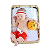 Pinbo Baby Photography Prop Headband Shorts Costume Crochet Knitted Basketball Outfits