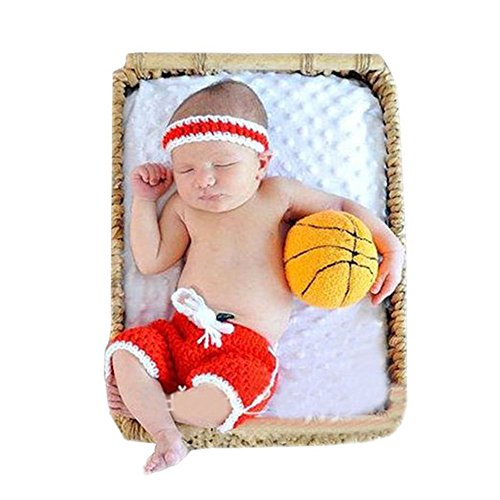 Pinbo Baby Photography Prop Headband Shorts Costume Crochet Knitted Basketball Outfits -