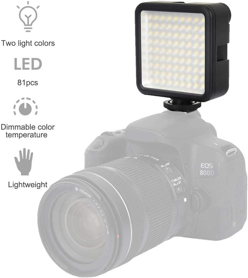 Mini LED Video Light W81 81 Pcs LED Dimmable 6000K 1000LM LED Camcorder Video Lamp with Hot Shoe Mount Adapter