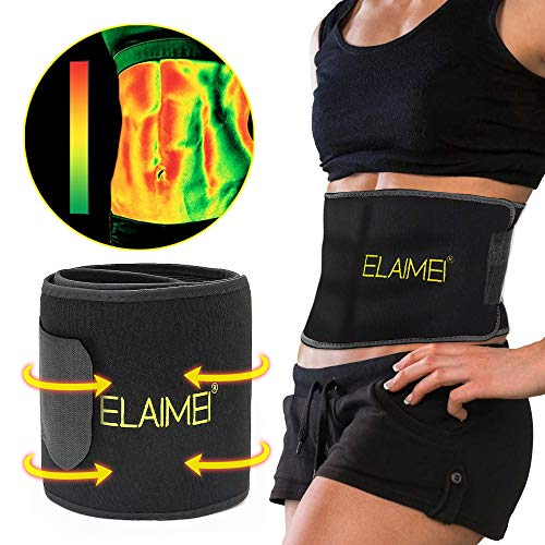 Hot Sweat Sauna Waist Trimmer for Women, Body Shaper Slimming Neoprene Waist Adjustable Compression Trainer, Thermo Yoga Fat Burn Band.