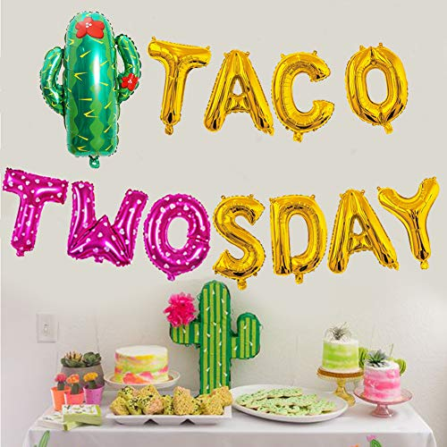 Girl Taco Twosday Birthday Party Decorations, Taco Twosday Balloons Cactus Fiesta Themed Banner for Taco 2sday Birthday Taco 2nd Birthday Party Supplies 14PCS Kit of Qinsly (Pink, Taco 2sDay)