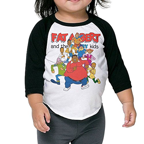 Grace Little Fat Albert And The Cosby Kids Geek Boys & Girls Toddler 100% Cotton 3/4 Sleeve Raglan T-Shirts Unisex Black -
