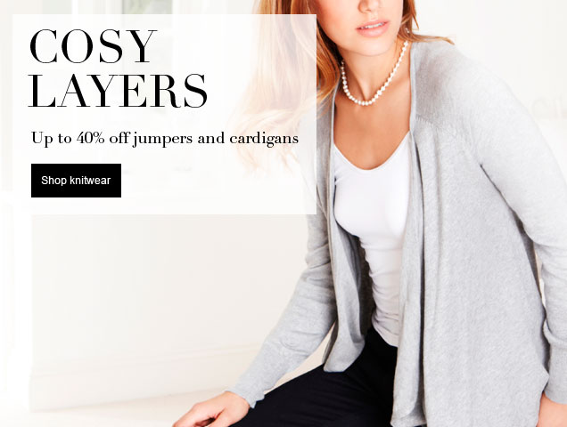 Cosy Layers Up to 40% off jumpers & cardigans