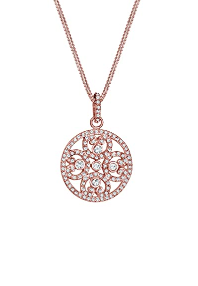 Elli Women Necklace 925 Sterling Silver Rose Gold Plated Cricles Swarovski Crystal Length V5zCpYFzx