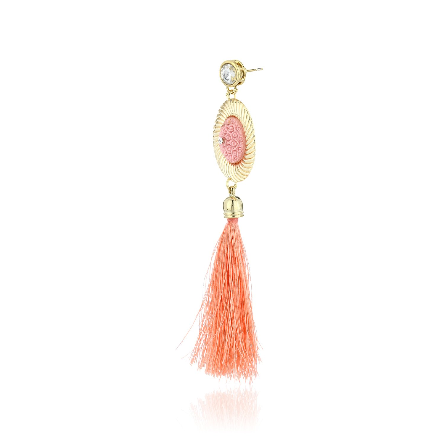 Fasherati Peach Floral Top And Long Silk Tassel Earrings For Women:  Amazon.co.uk: Jewellery