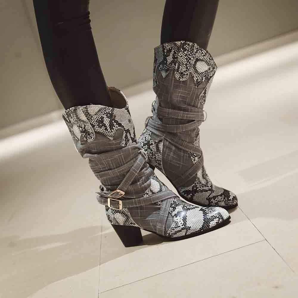 f7867f0bf03c4 Invierno De Altos Moda 2019 Fiesta Serpiente Zapatos Tacones Botas Zarlle  Mujer tUwf7