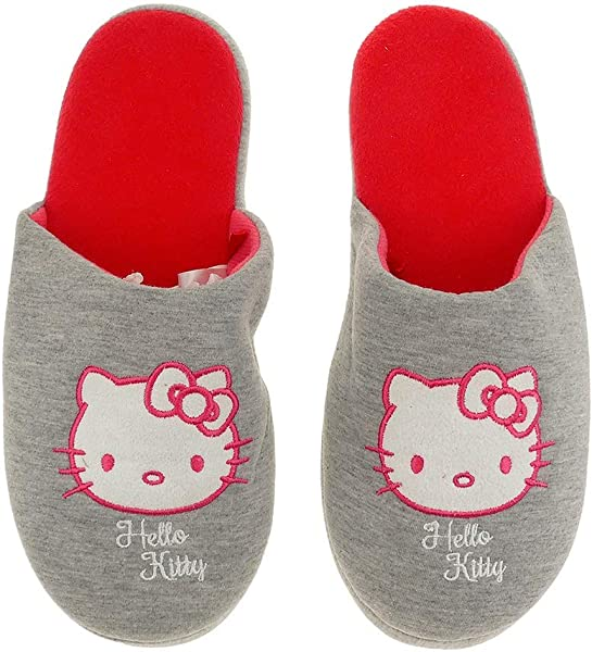 Hausschuhe Damen weich Hello Kitty grau warm Kinder Schlappen Slipper 3538 3942