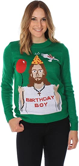 Women's Happy Birthday Jesus Ugly Christmas Sweater