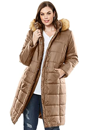 Roamans Women's Plus Size Long Quilted Parka With Faux Fur Trim ...