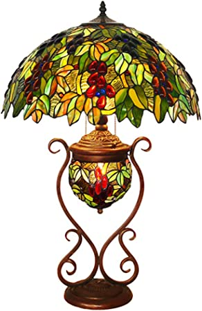 Tiffany Style Table Lamp with Lighted Base, 3 Lights Grape