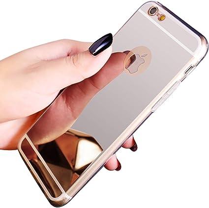 QPOLLY Coque Compatible avec iPhone 6 Plus/6S Plus Effet Miroir Etui en Silicone Souple Couleur Plaquée de Doux TPU Case Anti-Choc Bumper Ultra Mince ...