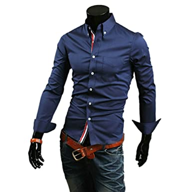 Zehui® Mens Stylish Casual Slim Fit Shirt Long Sleeve T-shirts ...