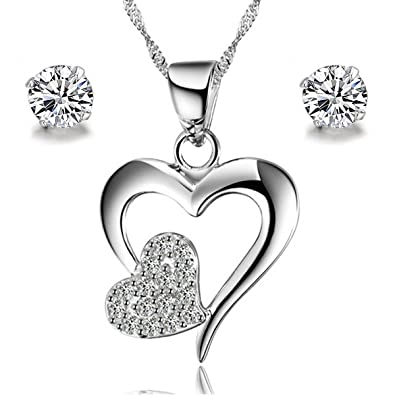 Gilind 925 Sterling Silver Heart Necklace and Earrings Set for Women + Gift Box baZ57HUsO