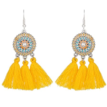 SODIAL(R) New Sun Flower Tassels Earrings Retro National Wind Earring Black E0fsSVPwM