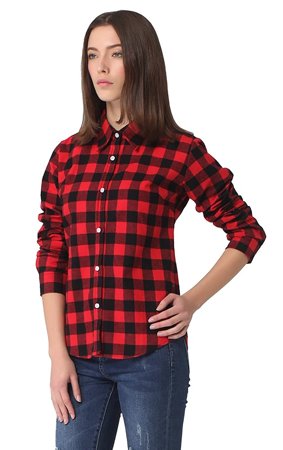 MEYKISS Women's Long-Sleeve Plaid Flannel Shirt at Amazon Women's ...