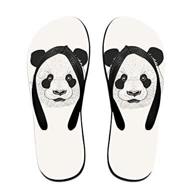 Panda Face Unisex Summer Casual Flip Flop Beach Slippers Flat Sandals