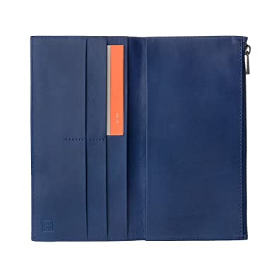 DUDU Mens Large Bifold Wallet made in Genuine Leather with external Zip Card & Money Paper Holders Blue B01LZRYTD7