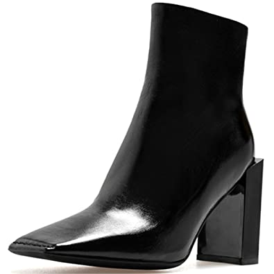 Genuine Leather Women's Square Toe Chunky Heel Side Zip Handmade Spunky Stunning Ankle Boots