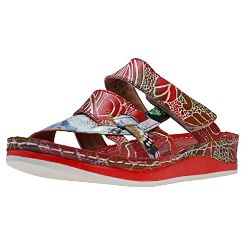 Laura Vita Bruel 058 Donna Red Multicolour Pelle Sandali 39 EU